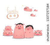 pig family welcome 2019 new year | Shutterstock .eps vector #1337257184