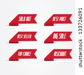 set of red promotional ribbons | Shutterstock .eps vector #133726091