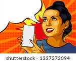 pinup girl with smartphone.... | Shutterstock .eps vector #1337272094