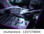 party dj scratches vinyl... | Shutterstock . vector #1337278004