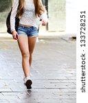 Walking shopping girl - stock photo