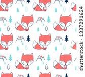 hand drawing fox pattern vector.   Shutterstock .eps vector #1337291624