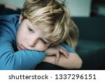 sad young boy  kids stress and... | Shutterstock . vector #1337296151