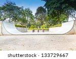 an empty halfpipe at public park | Shutterstock . vector #133729667