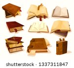 set of isolated old pile  stack ...   Shutterstock .eps vector #1337311847