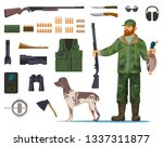 hunter man with hunting... | Shutterstock .eps vector #1337311877