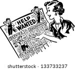 gal reading help wanted ads  ... | Shutterstock .eps vector #133733237
