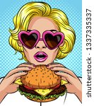vector pop art comic style... | Shutterstock . vector #1337335337