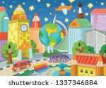 fantastic city. city of science ... | Shutterstock .eps vector #1337346884