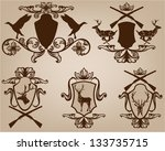 set of hunting theme vector... | Shutterstock .eps vector #133735715