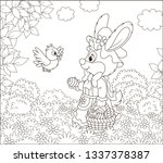 friendly smiling easter bunny... | Shutterstock .eps vector #1337378387