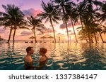 couple at beach vacation... | Shutterstock . vector #1337384147