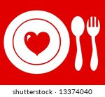 Dinner plate fork spoon silverware cutlery helping the hungry - stock photo