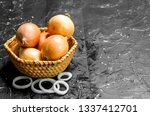 onions in basket and onion...