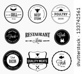 restaurant labels set | Shutterstock .eps vector #133742561