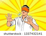 a man hides his eyes for the... | Shutterstock .eps vector #1337432141
