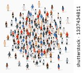 large group of people gather in ... | Shutterstock .eps vector #1337434811