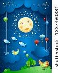 surreal night with moonlight ... | Shutterstock .eps vector #1337460881