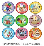 school subject icons   english  ... | Shutterstock .eps vector #1337476001