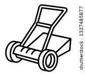 manual lawnmower icon. outline... | Shutterstock .eps vector #1337485877