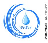 water splash with drop. water...   Shutterstock .eps vector #1337490344