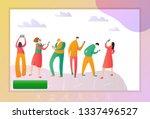 smiling people doing selfie on... | Shutterstock .eps vector #1337496527