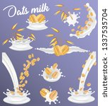 oat milk splash set. vector... | Shutterstock .eps vector #1337535704