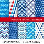 ten marine different seamless... | Shutterstock .eps vector #1337563037