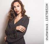beautiful girl in stylish dress ... | Shutterstock . vector #1337585234