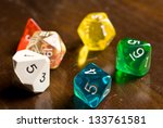 Role Play Dice on wooden table top - stock photo