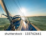 sailing boat on the water in... | Shutterstock . vector #133762661
