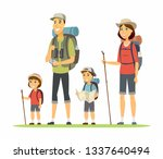 family goes camping   cartoon... | Shutterstock .eps vector #1337640494