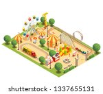 amusement park with roller... | Shutterstock .eps vector #1337655131