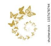 golden glitter butterflies fly... | Shutterstock .eps vector #1337678744