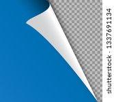 white blue curled corner of the ...   Shutterstock .eps vector #1337691134