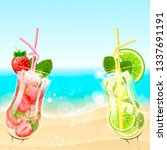 refreshing mojito cocktails on... | Shutterstock .eps vector #1337691191
