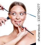 beautiful face closeup woman... | Shutterstock . vector #1337704277