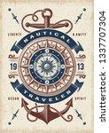 vintage nautical traveler... | Shutterstock . vector #1337707304