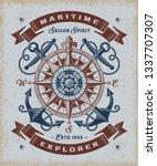 vintage maritime explorer... | Shutterstock . vector #1337707307