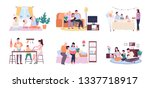 people at home vector  mother... | Shutterstock .eps vector #1337718917