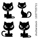 funny cartoon cat icons  blacks ... | Shutterstock .eps vector #1337735711