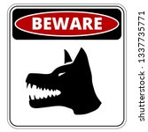 angry dog red danger sign.... | Shutterstock .eps vector #1337735771