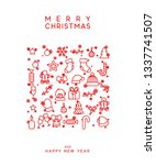 merry christmas and happy new... | Shutterstock . vector #1337741507