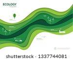 ecology art paper cut... | Shutterstock .eps vector #1337744081