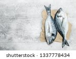 raw sea fish dorado on old... | Shutterstock . vector #1337778434