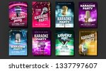 karaoke poster set vector. mic... | Shutterstock .eps vector #1337797607
