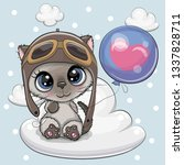 greeting card cute cartoon... | Shutterstock .eps vector #1337828711