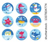 cute vector set about sea life  ... | Shutterstock .eps vector #1337834774