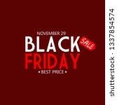 black friday font with red... | Shutterstock . vector #1337854574
