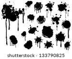 grunge splashes set vector